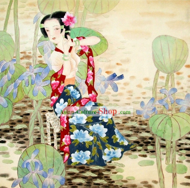 Traditional Chinese Girl Painting by Qin Shaoping