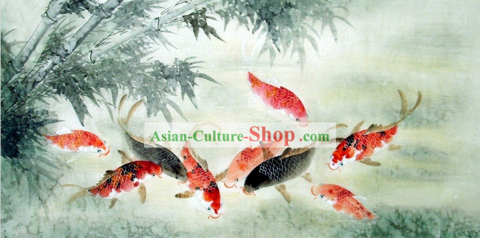 Traditional Chinese Carp Painting by Liu Lanting