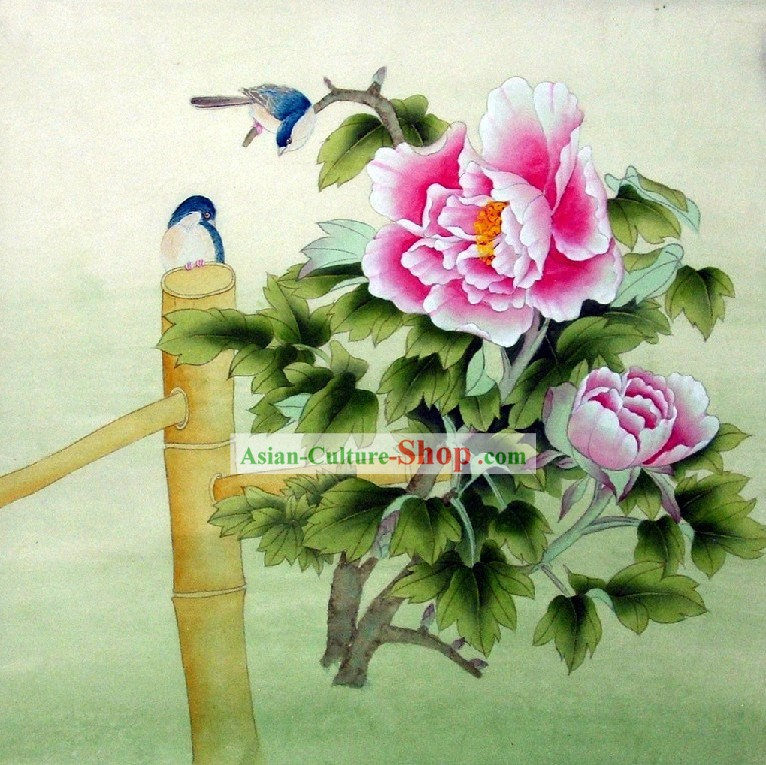 Traditional Chinese Peony Painting by Liu Lanting