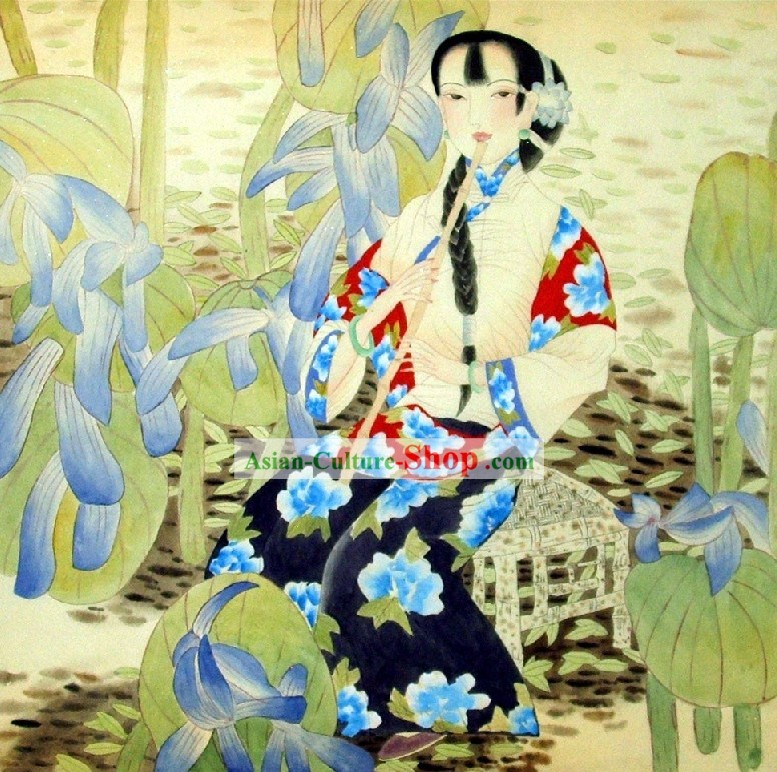 Chinese Painting of Woman by Qin Shaoping