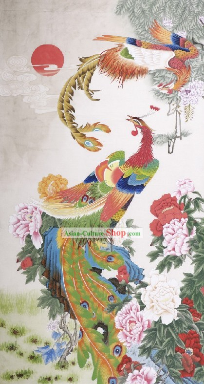 Traditional Chinese Phoenix Paintings/Phoenix Peony Painting