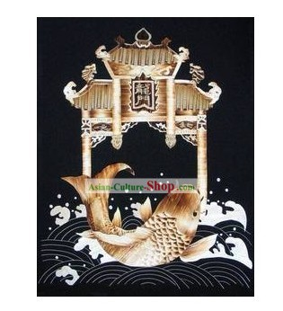 Chinese Handmade Wheat Stalk Painting - Carp