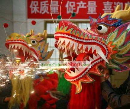 Flame Traditional Chinese Dragon Dance Costume Complete Set for 10 People