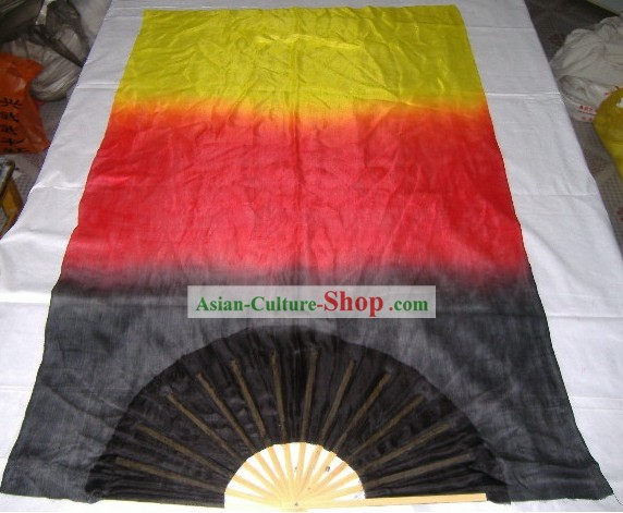 Professional Three Colours Bamboo and Silk Fan Veils