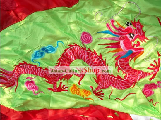 118 Inches Long Large Green Dragon Embroidery Chinese New Year Parade Flag