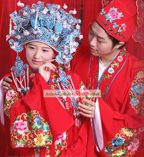 Supreme Ancient Chinese Wedding Dresses 2 Complete Sets for Bride and Bridegroom