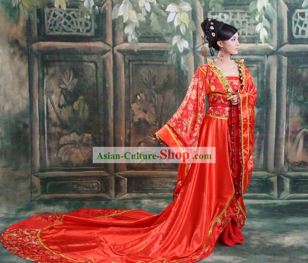 Ancient Chinese Long Tail Wedding Dress and Hair Accessories Complete Set