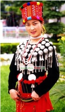 Jingpo Minority Traditional Dress and Hat Complete Set