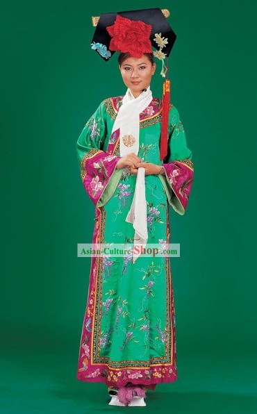 China Manchu Minority Dress and Hat Complete Set