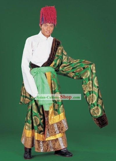 Chinese Traditional Tibetan Dress and Hat Complete Set for Men