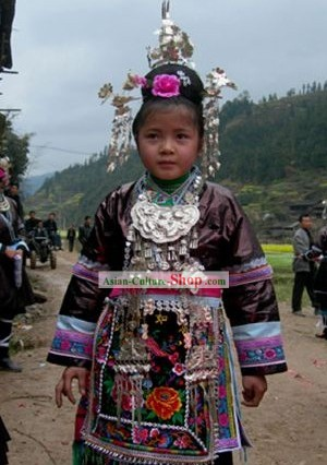 Chinese Dong Minority Silver and Dress Set