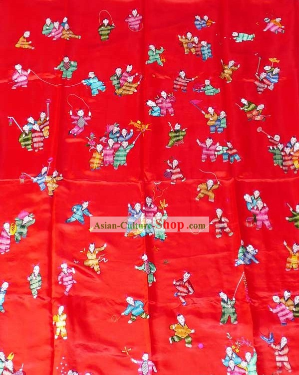 Chinese Hand Embroidery Silk Bedcover - Hundreds of Children