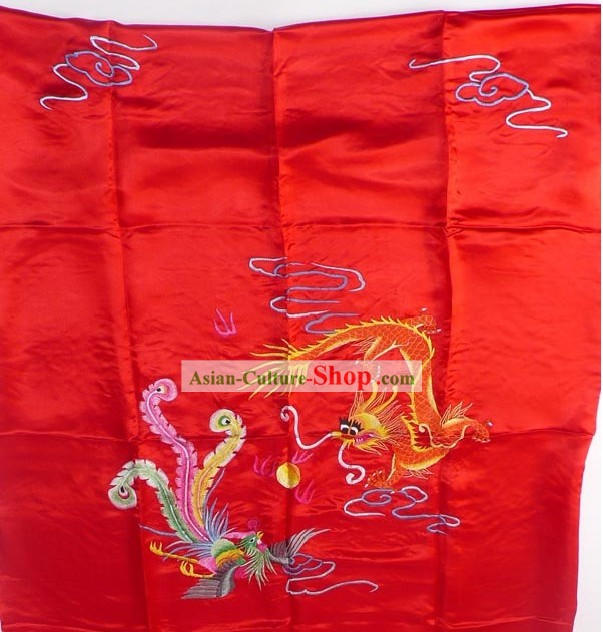 Chinese Classic Lucky Red Hand Embroidery Silk Bedcover - Dragon and Phoenix