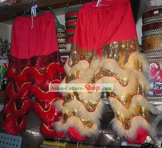 Professional Lion Dance Long Sheep Fur Pants and Shoes Covers Set
