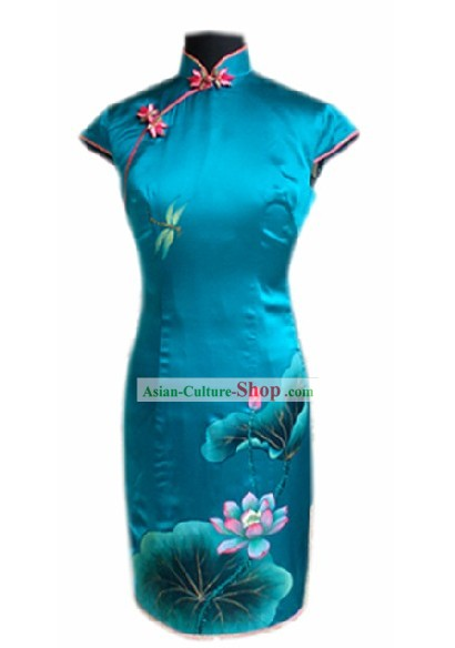 Traditional Handmade and Painted Dragonfly and Lotus Blue Silk Cheongsam