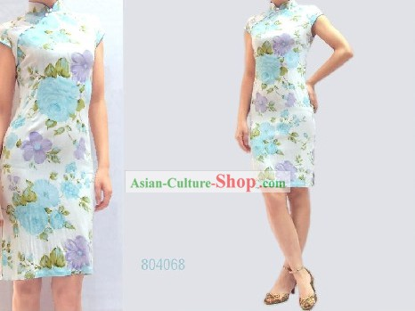 Chinese Classical White Floral Cotton Cheongsam (Qipao)