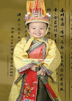 China Ancient Emperor Traditional Hats and Costume Set