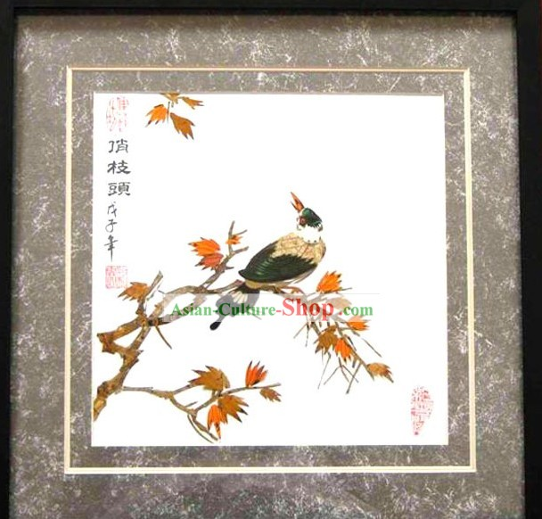 Handmade Real Butterfly Wings Painting - Bird and Tree