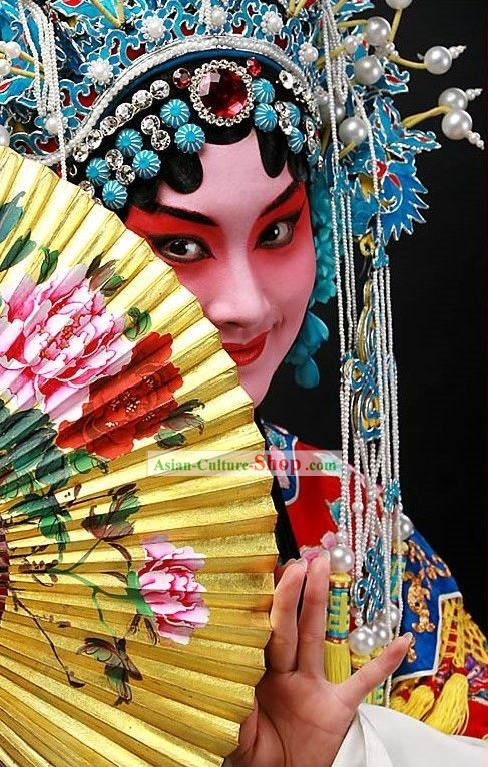 Traditional Chinese Handmade Peony Opera Fan