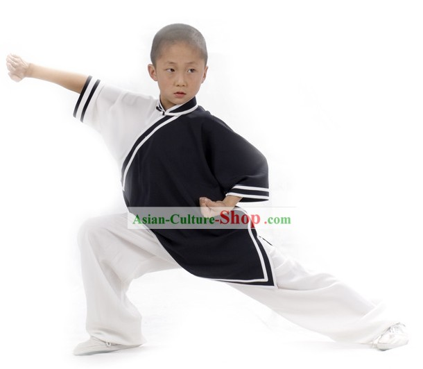 Chinese Professional Flax Martial Arts Tai Chi Uniform Complete Set for Children