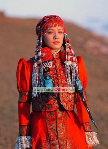 Stunng Tibet Traditional Clothing and Hair Decoration Complete Set