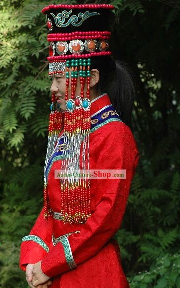 Chinese Classical Lucky Red Mongolian Wedding Dress and Hat for Bride