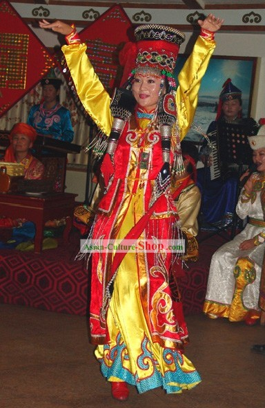 Happy Celebration China Minority Dance Clothing and Hat Complete Set