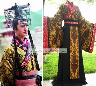 Chinese Ancient Han Emperor Male Costume Complete Set