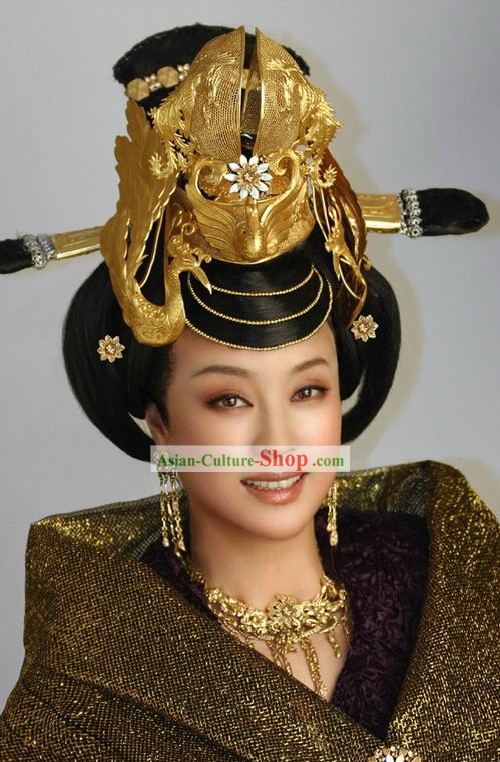 Chinese Ancient Wu Zetian Woman Emperor Hair Decoration and Wig Complete Set