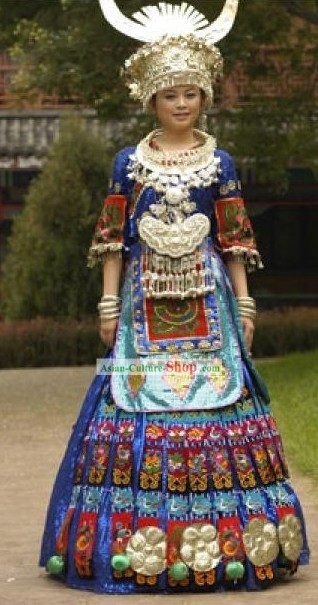 Chinese Traditional Miao Zu Costumes Complete Set for Women