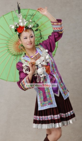 Chinese Traditional Miao Minority Clothing Complete Set