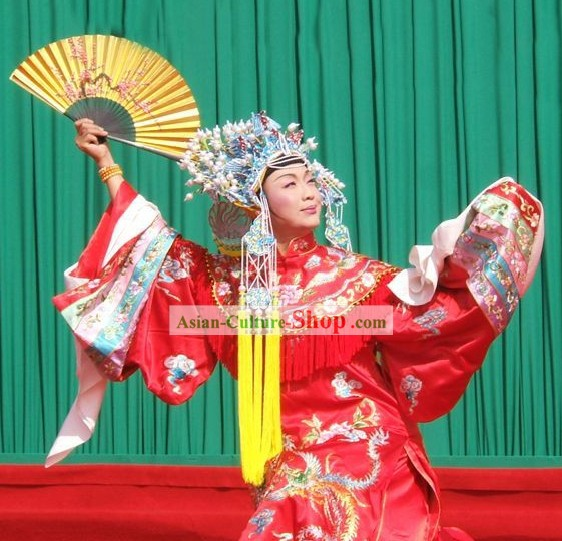 Chinese Classical Beijing Opera Costumes and Phoenix Crown Complete Set