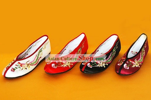 Chinese Traditional Handmade Embroidered Princess Satin Shoes (double phoenix)