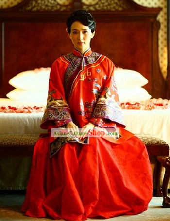 Supreme Ancient Chinese Traditional Wedding Clothing Complete Set for Bride