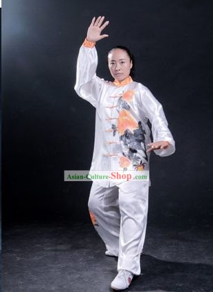 Chinese Professional Martial Arts Original Painting Silk Uniform Complete Set