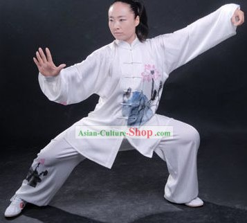Professional Martial Arts Original Lotus Painting Silk Uniform Complete Set