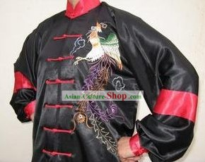 Chinese Professional Martial Arts Embroidered Phoenix Silk Uniform Complete Set