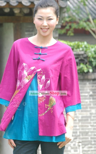 Chinese Original Painting Blouse for Women