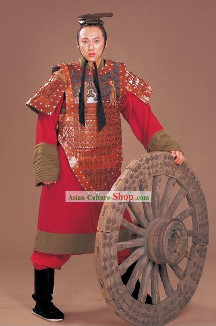 Traditional Chinese Ancient General Armor and Helmet Complete Set