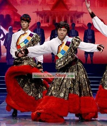 Chinese Traditional Tibetan Dance Costumes Complete Set