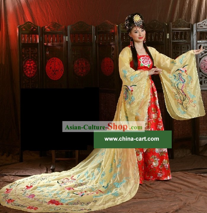 Chinese Classical Ancient Empress Dress and Hair Decoration Complete Set