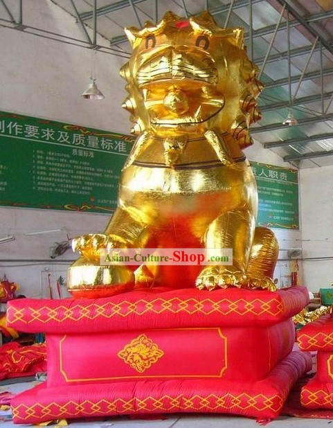 Happy Chinese Festival Celebration Golden Lion Inflatable Set