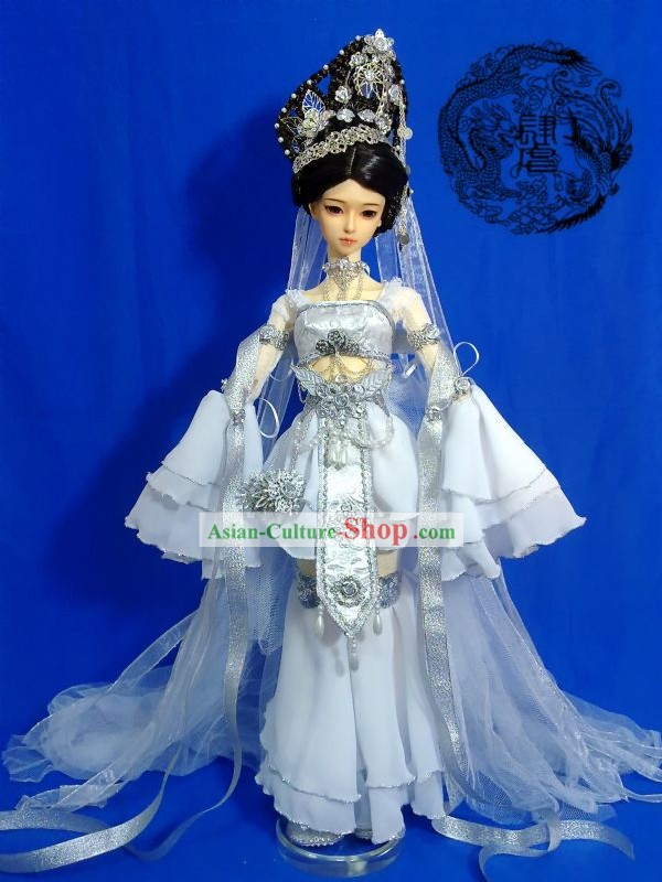 Chinese Ancient Princess Costume and Wig and Hair Accessories Complete Set