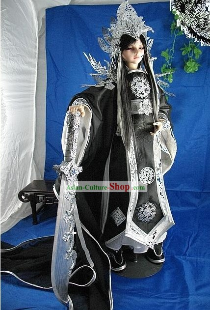 Ancient Prince Dragon Costumes and Hair Decoration Complete Set
