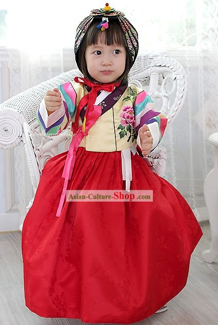 Traditional Korean Girl Birthday Dress Hanbok Complete Set