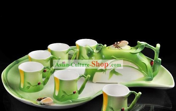 Chinese Classical Bamboo Ceramic Tea Set