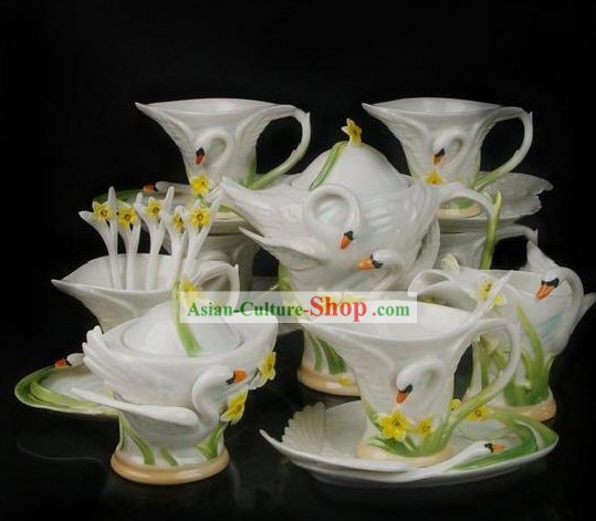 Chinese Classical Ceramic Swan Coffe Cups 21 Pieces Set