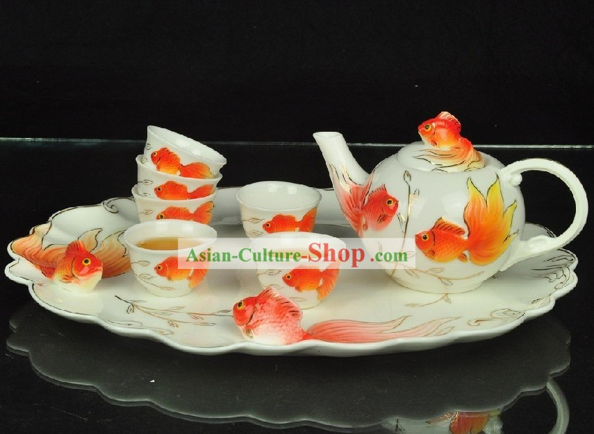 Chinese Classical Goldfish Ceramic Tea Set