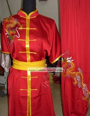 Pure Silk Embroidered Dragon Tai Chi Clothing
