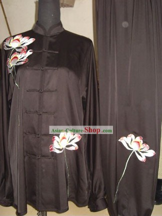 Chinese Traditional Embroidered Peony Tai Chi Uniform